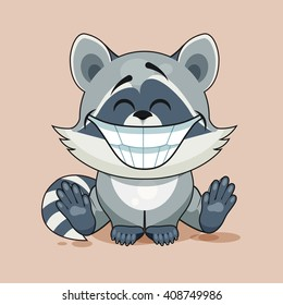 Vector Illustration isolated Emoji character cartoon Raccoon cub with huge smile from ears sticker emoticon for site, info graphic, video, animation, website, e-mail, newsletter, report, comic