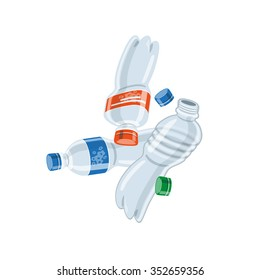 Vector illustration of isolated empty used plastic bottles on white background in cartoon style.