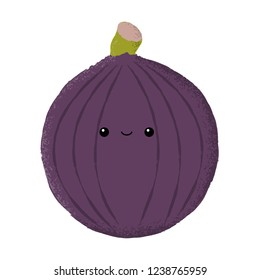 Vector illustration of an isolated fig with painted texture and a happy smiling face.