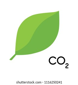 Vector Illustration of an isolated green leaf ecological icon with the text CO2