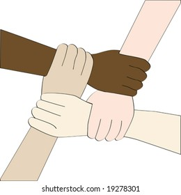 Vector illustration of isolated hands of people from different races holding each other to create a strong link