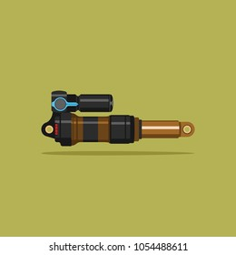 Vector illustration of an isolated modern shock-absorber for a bicycle or motorcycle.