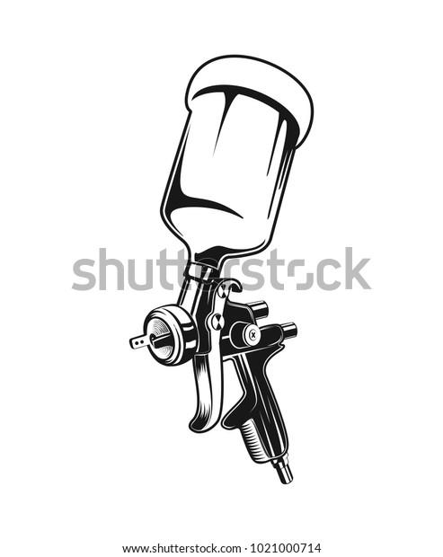 Vector Illustration Isolated Monochrome Spray Gun Stock ...