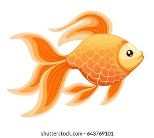 Vector illustration isolated on background Goldfish aquarium fish silhouette illustration. Colorful cartoon flat aquarium fish icon for your design
