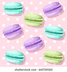 Vector illustration isolated on background Tasty colorful french macaron.