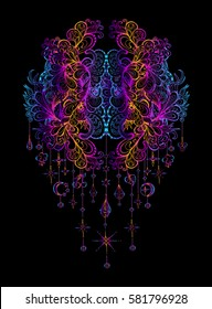 Vector illustration isolated on a black background mandala with pendants, sacred amulet,  colorful tattoo. Psychedelic art for print, posters, t-shirts and textiles. Boho style