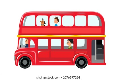 Vector illustration isolated on white background. English red double-decker bus side view flat style. Element infographic, website, icon, postcards, place for text. Cute and funny characters inside