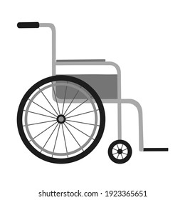 Vector illustration isolated on white background. Monochrome wheelchair in the hospital. Cartoon flat style object. Design for sign, medical service, hospital, icon.