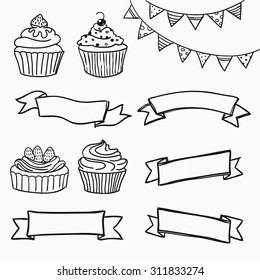 Vector illustration isolated on white, hand-drawn cupcakes and banners set. Perfect for menus, invitations, decor for restaurants, birthdays and weddings