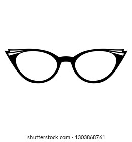 Vector illustration of an isolated pair of simple retro 1950s style glasses.