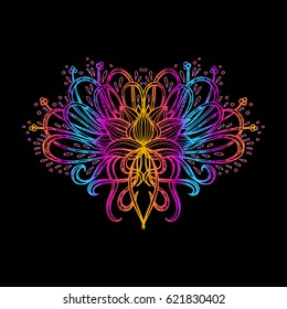 Vector illustration isolated. Printing on T-shirt, fabric, mugs and souvenirs. Rainbow, acid, LSD, dmt, meditation, psychedelic, narcotic, nature, flowers, pattern, 60s, trippy, dreamy, lotos, tattoo.