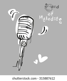 Vector illustration of isolated retro, vintage microphone