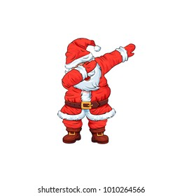 Vector illustration isolated Santa Claus Father Frost Christmas character dancing dab step fashionable hip hop pose meme design element for t-shirt for Happy new Year cartoon style white background
