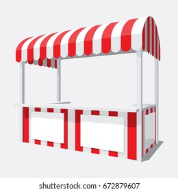 Vector illustration of an isolated shopping pavilion with a semicircular roof in white and red color scheme on a poor background