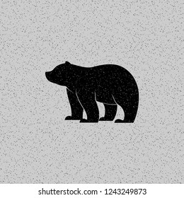 Vector illustration. Isolated silhouette bear icon on grunge background.