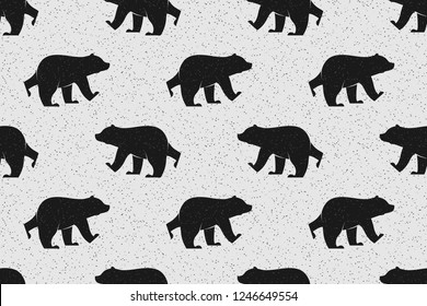 Vector illustration. Isolated silhouette bear icon on grunge background. Seamless pattern, creative repeating line of texture for printing, wrapping, wallpaper, fabric, and textile.