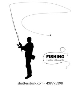 Vector illustration: Isolated silhouette of fisherman. Fisher throws spinning
