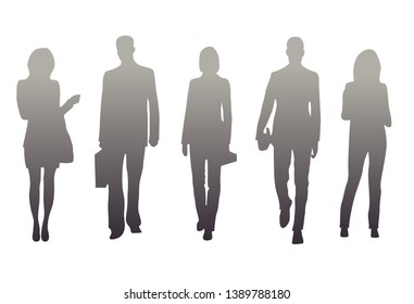 Vector illustration of isolated silhouettes of office workers. Gray gradient silhouettes of women and men on a white background.