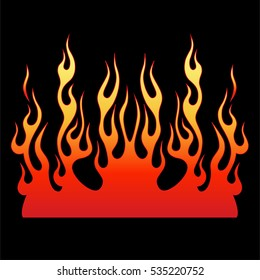 Vector illustration isolated symbol colored flames fire on black background. Stylish image  red and yellow flame, fire for creating design template, patterns on cars, interiors, clothing, printing.