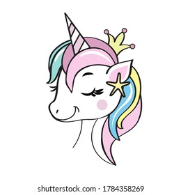 Vector illustration with isolated unicorn head on white background