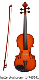 Vector illustration -  isolated vector violin with the fiddle stick. Created with gradient mesh.