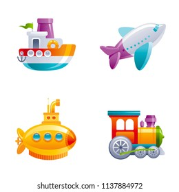Vector illustration isolated white background. Realistic baby toy symbol, fun play childhood concept, 3d retro transport. Cartoon cute vintage ship boat air plane submarine train preschool icon set