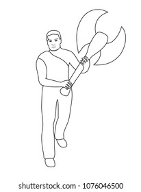 Vector illustration, isolated young man with big battle axe in his hands in black and white colors