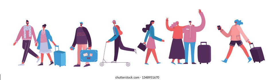 Vector illustration with isolated young man traveler in various activity with luggage and tourist equipment in flat design