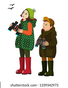 vector illustration with isolated young ornithologists.birdwatchers with binoculars in hands.flat cartoon kids in autumn clothes