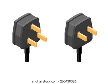 A vector illustration of an isometric 2 and 3 pin plug. Isometric plug icon. Isometric black plug icons.