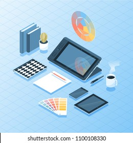 Vector illustration of isometric 3D desk with designer or artist equipment including tablet,mobile devices and coffee cup.