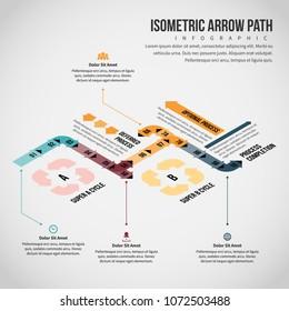 Vector illustration of Isometric Arrow Path Infographic design element.