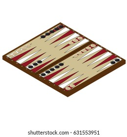 Vector illustration isometric backgammon wooden board and chips for game. Board game