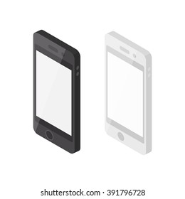 Vector Illustration of Isometric Black and White Smartphones.