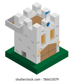 A vector illustration of an isometric castle