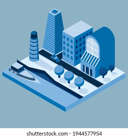 Vector illustration with isometric city buildings in blue colors. City embankment.