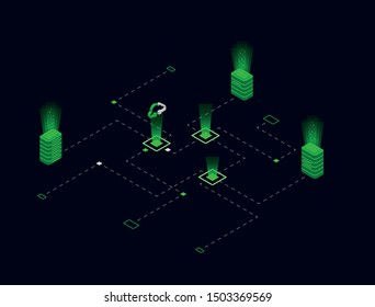 Vector illustration. Isometric composition. Lighting effects