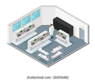 A vector illustration of an isometric control room. Isometric Control Room. Interior on and industrial factory.