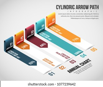 Vector illustration of Isometric Cylindric Arrow Path Infographic design element.