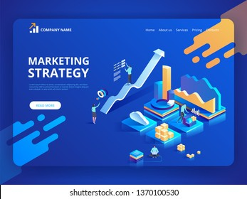 Vector illustration isometric design concept of Marketing Strategy for website and mobile website. Landing page template. Easy to edit and customize.