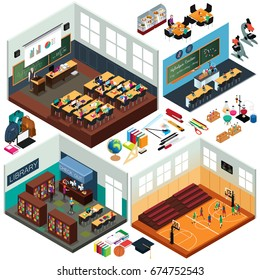 A vector illustration of Isometric Design of School Buildings and Classrooms