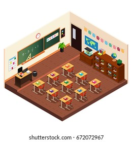 A vector illustration of Isometric of a Elementary School Classroom