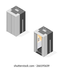 A vector illustration of an isometric elevator. Isometric elevator. A vector elevator with a closed or open door.