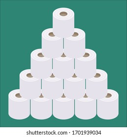 Vector illustration of isometric and flat design stacked toilet paper