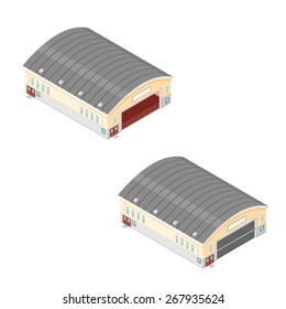 A vector illustration of a isometric hangers. Large buildings for the distribution of goods or storage.