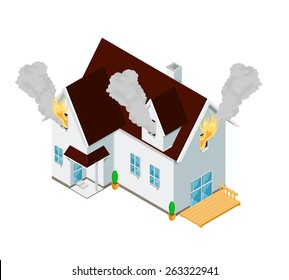 A vector illustration of an isometric house fire. Isometric House fire. A home that is in flames.