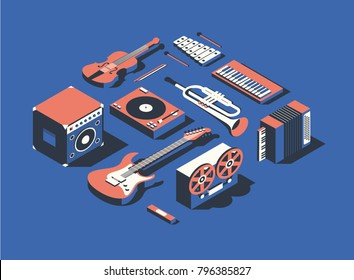 Vector illustration, isometric icon set, collection of musical instruments, blue background. Dynamic, electric guitar, harmonica, reel tape recorder, accordion, trumpet, piano, dj mixer, violin