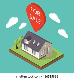 "Vector illustration of isometric large private family cottage or house for real estate brochures or web icon. Map pointer over the house with the words ""For Sale"" on it. Sale concept."