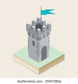 A vector illustration of an isometric medieval castle tower