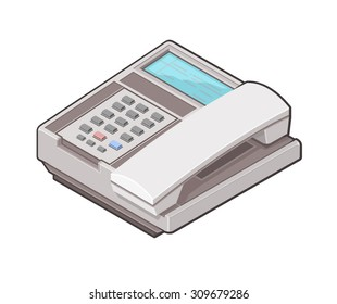 A vector illustration of an isometric office phone. Isometric Office Phone icon illustration. Business communication concept.